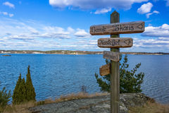 Wooden signs on Swedish coast Stock Photography