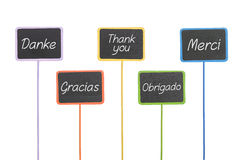 Signs with the text Thank You in different languages. Wooden signs with the text Thank You in different languages stock photos