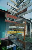 Wooden signs to many cities. Signs to Everywhere in Key West, FL Royalty Free Stock Photos
