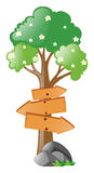 Wooden signs on tree Stock Images