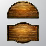 Wooden signs, vector icon set Royalty Free Stock Photography