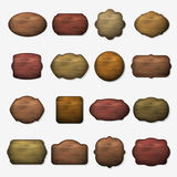 Wooden signs. Vector wood isolated brown boards Stock Images