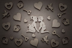 Wooden Silhouettes Of Men And Women, Hearts, Amur, Castle,Key Stock Images