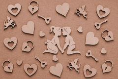 Wooden Silhouettes Of Men And Women, Hearts, Amur, Castle,Key Stock Photo