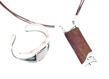 Wooden Silver Jewellery Isolated Royalty Free Stock Images