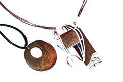 Wooden Silver Jewellery Isolated Stock Photo