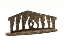 Wooden simplistic christmas crib vector illustration