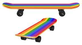 Wooden skateboard with rainbow coloring and black wheels Stock Photography