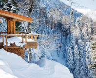 Wooden Ski Chalet In Snow Royalty Free Stock Images