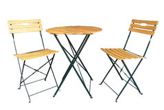 Wooden Slat Chairs and a Table Royalty Free Stock Images