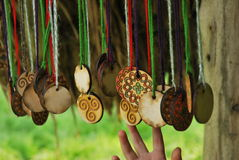 Wooden slavic jewelery Stock Image