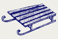 Wooden sled. Doodle style. Vector sketch Royalty Free Stock Images