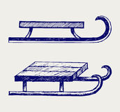 Wooden sled. Doodle style. Scratch stock illustration