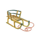 Wooden sled with a rope. Watercolor painting royalty free illustration