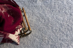 Wooden sled in snow. Stock Photography