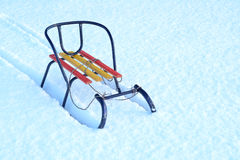 Wooden sled in the snow. Winter Fun Stock Images
