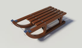Wooden sled on the white background Stock Images