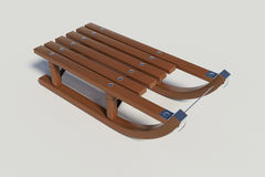 Wooden sled on the white background Royalty Free Stock Images