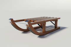 Wooden sled on the white background Royalty Free Stock Photo