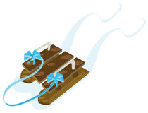 Wooden sled. Winter sled made of wood Royalty Free Stock Image