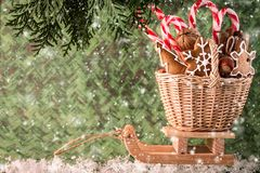 Wooden sled with xmas gifts. Christmas  concept Royalty Free Stock Images