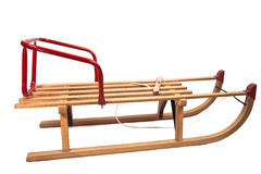 Wooden sledge. Isolated on white Royalty Free Stock Photos