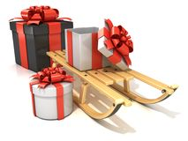 Wooden sledge with Christmas presents, 3D render Royalty Free Stock Images