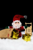 Wooden sledge in the snow Royalty Free Stock Photo