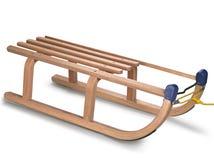 Wooden sledge on white Stock Photo