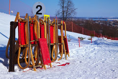 Wooden sleds Royalty Free Stock Photo