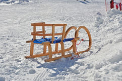 Wooden sleds on snow Stock Image
