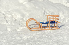 Wooden sleds on snow Royalty Free Stock Photos