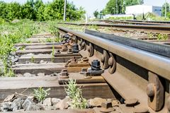 Wooden sleepers on the railway in the 20th century. Rails of sleepers Royalty Free Stock Photo