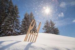 Wooden_sleigh imagens de stock