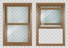Wooden Sliding window Stock Photo