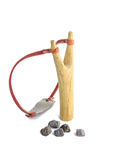 Wooden slingshot. Isolated on white background Royalty Free Stock Photo