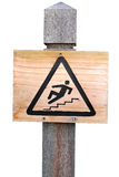 Wooden Slippery Surface sign Stock Photos