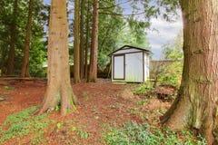 Wooden small backyard shed Stock Photo