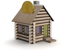 Wooden small house a coin box. Stock Photo