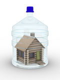Wooden small house in a glass bottle. Isolated 3D image Royalty Free Stock Photo