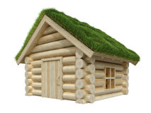 Wooden small house with grassy roof Stock Images