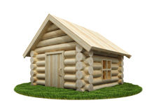 Wooden small house on green meadow Stock Photography