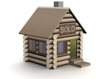 Wooden small house. The isolated illustration. Royalty Free Stock Photo