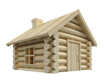 Wooden small house. Wooden house isolated on white. 3D render Stock Photos