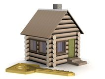 Wooden small house with a key. Royalty Free Stock Photos