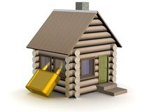 Wooden small house. The safety concept. Royalty Free Stock Photos
