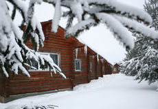 Wooden small houses in the winter Royalty Free Stock Photography