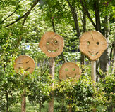 Wooden smilies Stock Photography