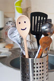 The wooden smiling spoon Stock Images