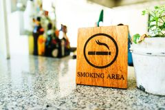 Wooden Smoking Area with Mini Tree Pot Stock Images